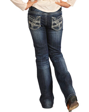 Rock & Roll Cowgirl Girls' Classic Boot Cut Jeans, Indigo, hi-res