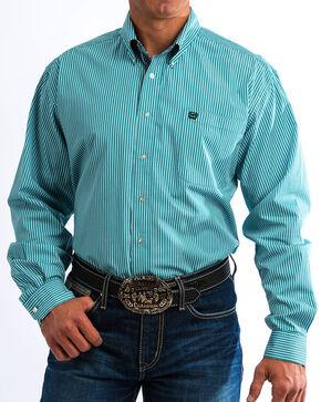 Cinch Men's Turquoise Striped Western Shirt , Blue, hi-res