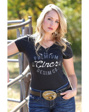 Cinch Women's Black V-Neck Tee , Black, hi-res