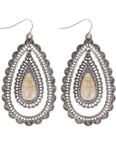 Shyanne® Women's Scallop Teardrop Earrings , Silver, hi-res