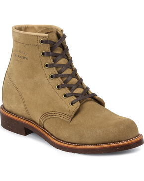 "Chippewa Men's 6"" Lace-Up  Suede Service Boots, Khaki, hi-res"