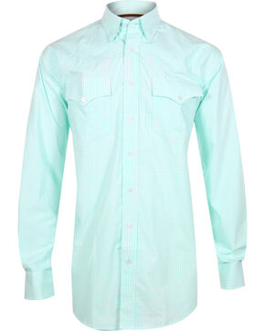 Miller Ranch Men's Plaid Long Sleeve Western Shirt, White, hi-res