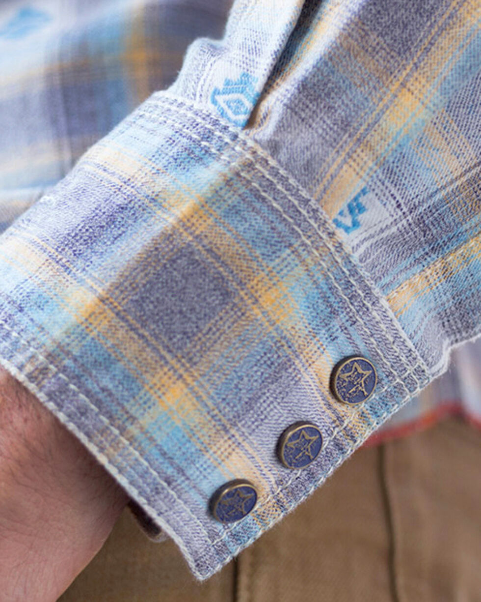Ryan Michael Men's Blue Ombre Dobby Plaid Shirt - Big , Blue, hi-res