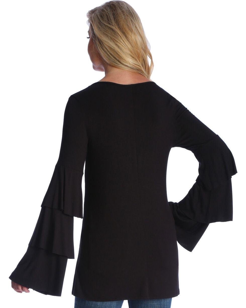 Wrangler Women's Black Long Ruffle Sleeve Tunic, , hi-res