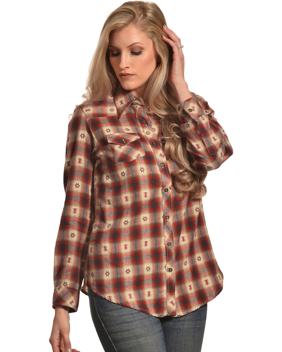 Nostalgia Women's Plaid Ikat Flannel Shirt, Multi, hi-res