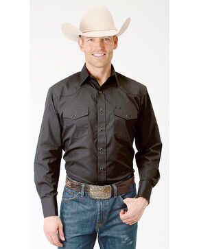 Roper Men's Solid Black Long Sleeve Western Shirt, Black, hi-res