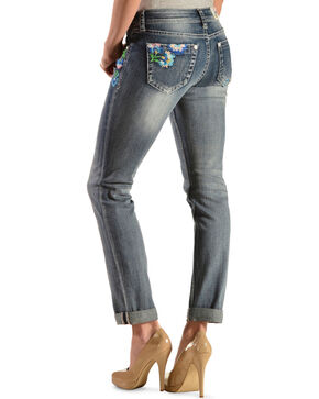 Grace In LA Women's Floral Embroidered Skinny Jeans, Denim, hi-res
