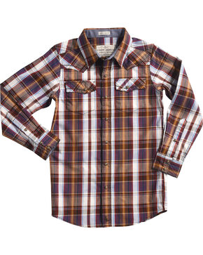 Cody James Boys' Saddle Plaid Long Sleeve Shirt, White, hi-res