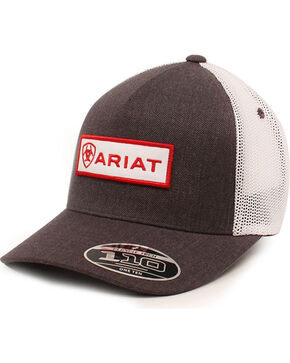 Ariat Men's Logo Patch Ball Cap, Grey, hi-res
