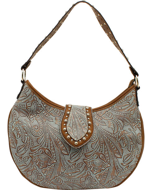 Blazin Roxx Women's Floral Embossed Hobo Bag, Blue, hi-res