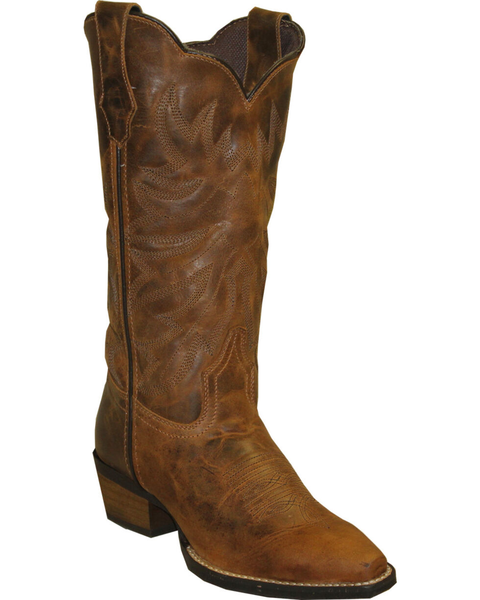 """Rawhide Women's 12"""" Scalloped Top Western Boots, Brown, hi-res"""