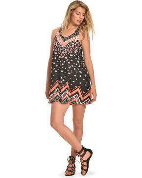 Derek Heart Print Crochet Back Trapeze Dress , Black, hi-res