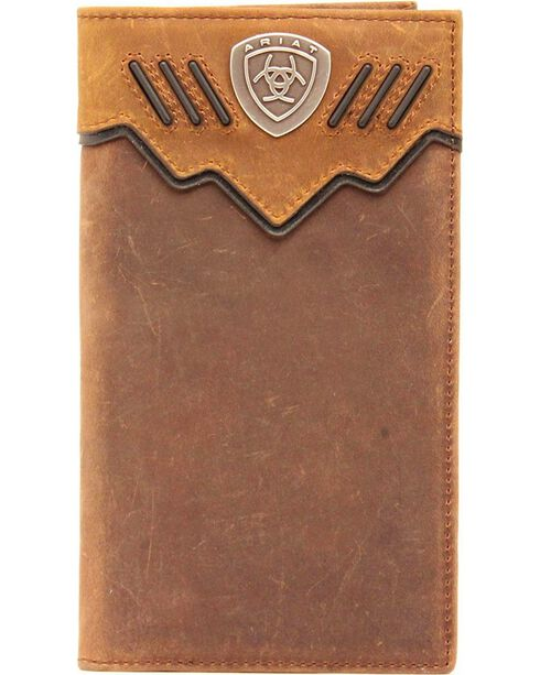 Ariat Logo Concho Rodeo Wallet, Med Brown, hi-res