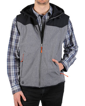 American Worker Men's Crafted Soft-Shell Hooded Vest, Charcoal, hi-res
