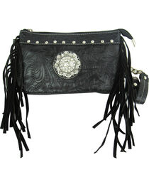 Savana Women's Black Tooled Crossbody/Wristlet with Fringe, , hi-res