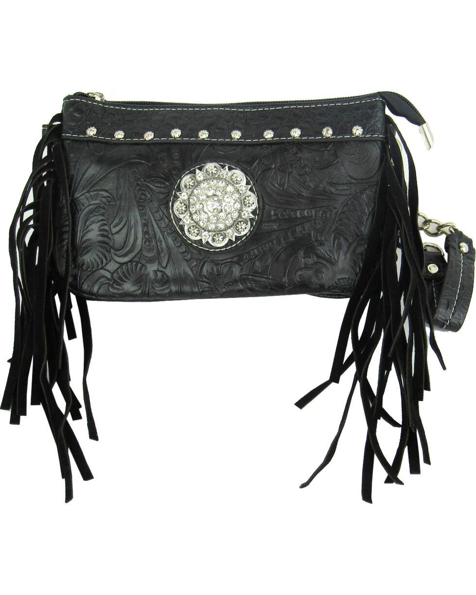 Savana Women's Black Tooled Crossbody/Wristlet with Fringe, Black, hi-res