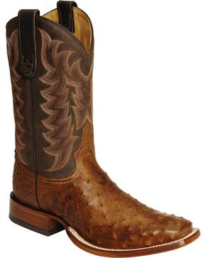 "Tony Lama Men's San Saba Full Quill Ostrich 11"" Western Boots, Chocolate, hi-res"