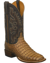 Lucchese Men's Fisher Hornback Caiman Leather Horseman Boots - Square Toe, , hi-res