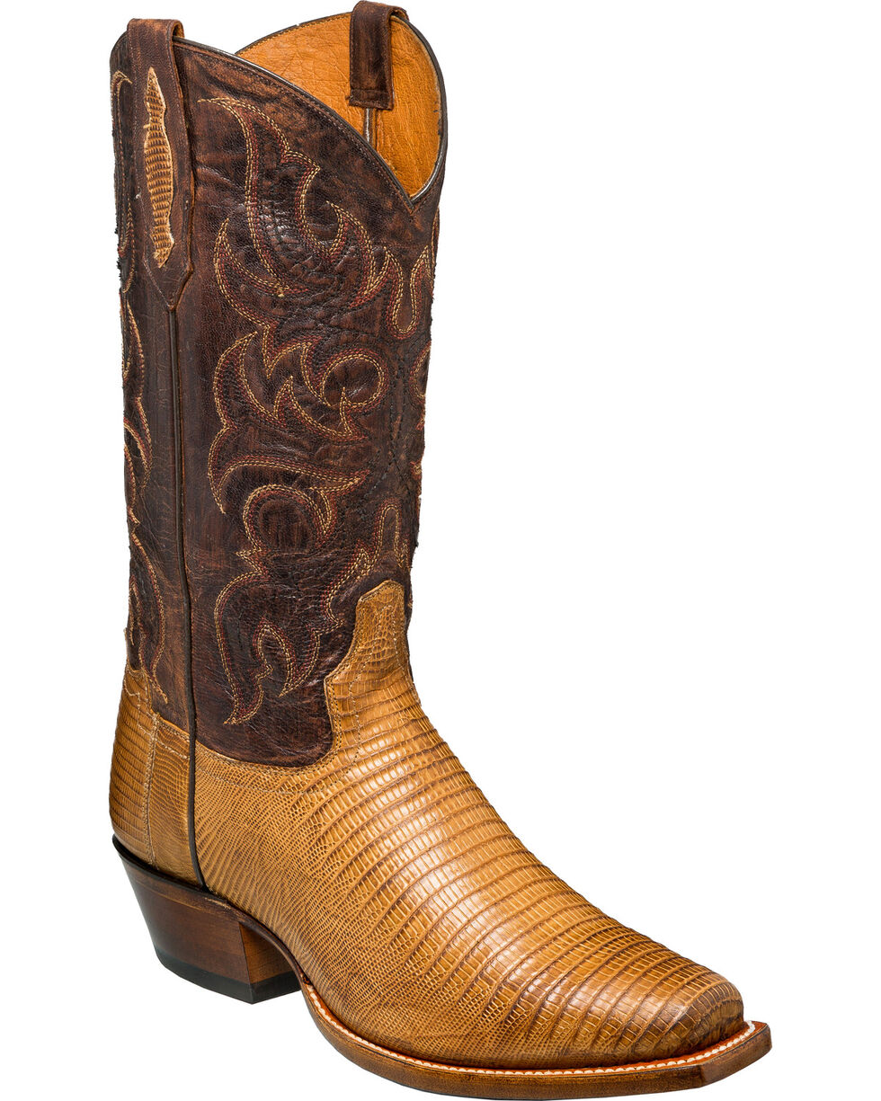 Tony Lama Men's Antique Saddle Teju Lizard Cowboy Boots - Square Toe, Tan, hi-res