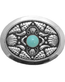 Western Express Women's Silver Turquoise Stone Belt Buckle , , hi-res