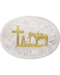 Montana Silversmiths Men's Silver and Gold Christian Cowboy Belt Buckle , , hi-res