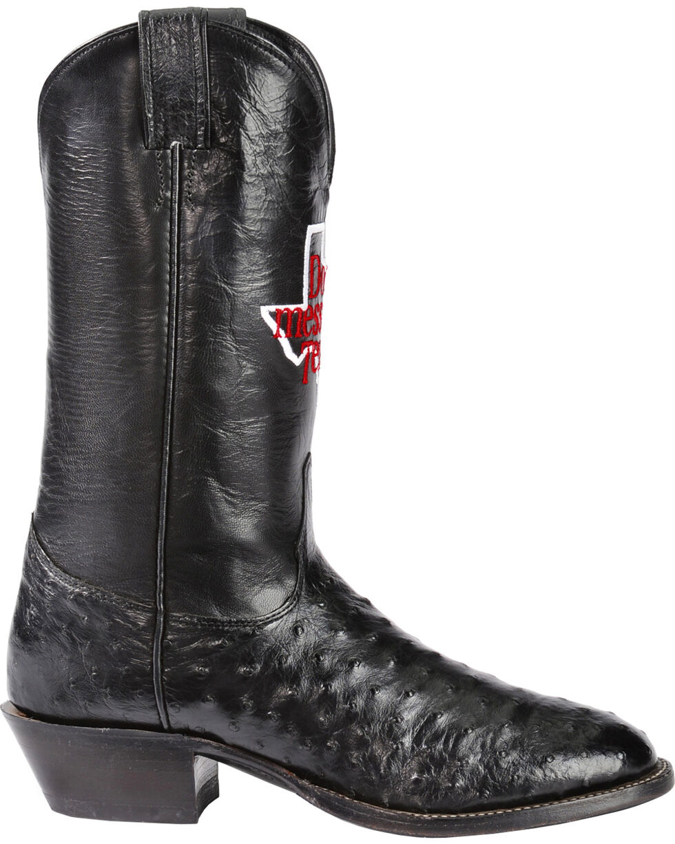 Justin Men's Don't Mess With Texas Full Quill Ostrich Western Boots, Black, hi-res