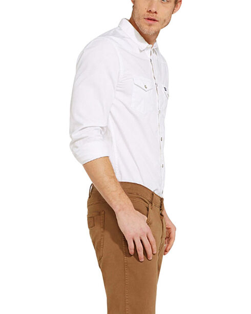 Wrangler Men's 70th Anniversary Western Slim Fit Solid Shirt, Blue, hi-res