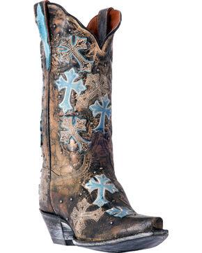 Dan Post Women's Cascading Crosses Cowgirl Boots - Snip Toe, Black, hi-res
