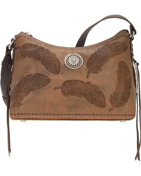 American West Women's Brown Sacred Bird Shoulder Bag , Distressed Brown, hi-res