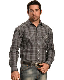 Crazy Cowboy Men's Grey Tonal Plaid Western Snap Shirt  , , hi-res