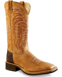 Old West Men's Tan Cowboy Boots - Square Toe , , hi-res