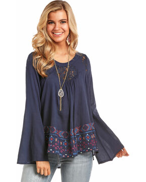 Rock & Roll Cowgirl Women's Navy Geo Embroidered Blouse , Navy, hi-res