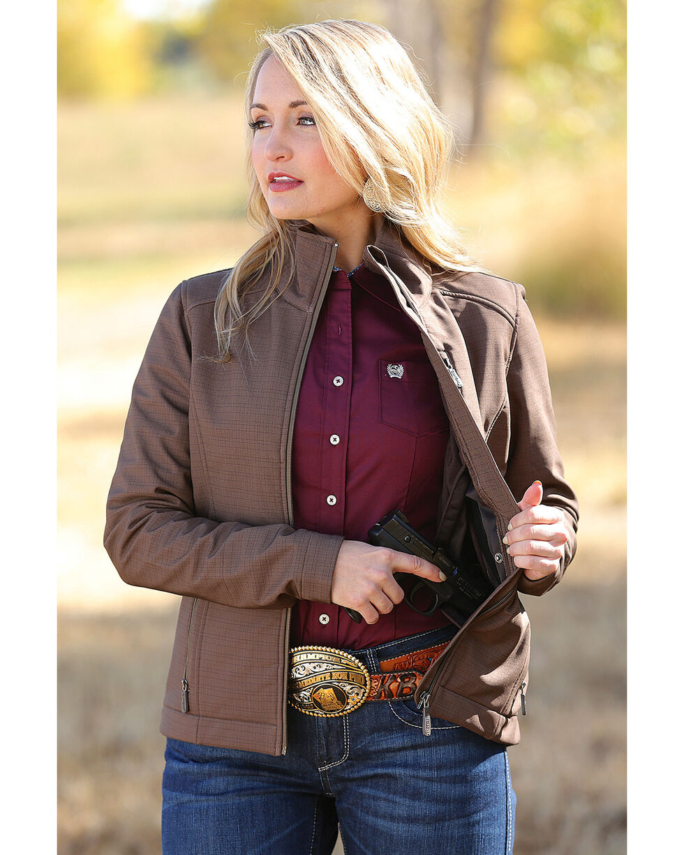 Cinch Women's Brown Bonded Concealed Carry Jacket , , hi-res