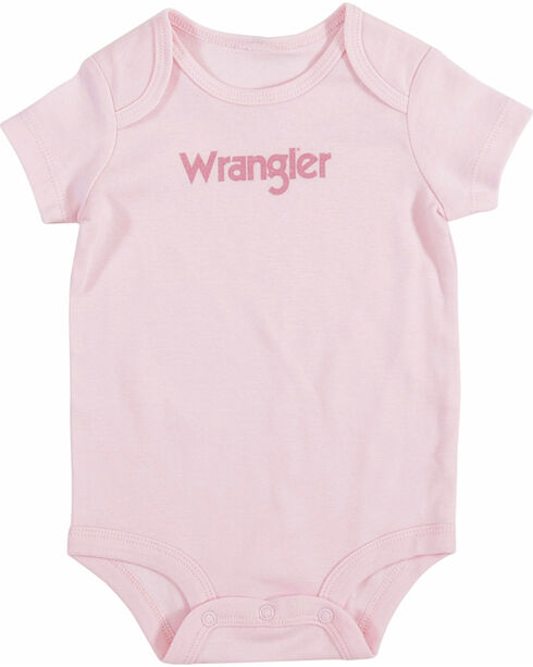 Wrangler Infant Girls' Pink Logo Onesie , Pink, hi-res