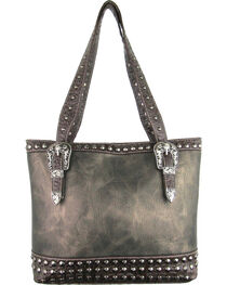Savana Women's Pewter Concealed Carry Tote Bag with Croco Trim, , hi-res