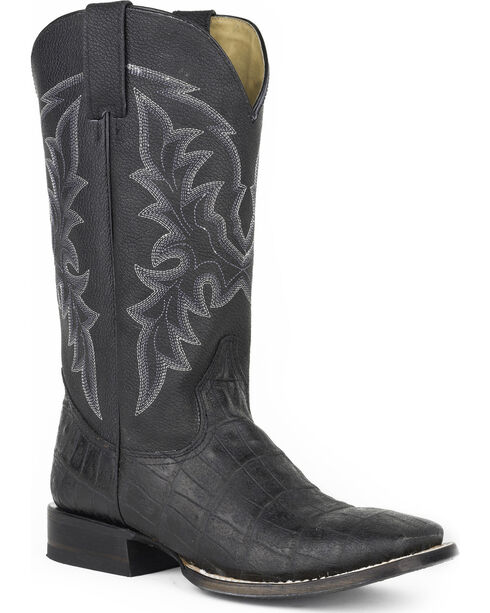 Roper Men's Black Caiman Belly Print Boots - Square Toe , Black, hi-res