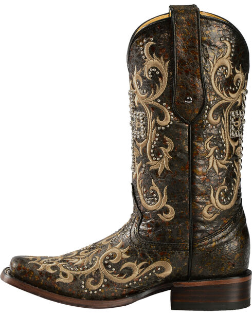 Corral  Women's Studded Cross Western Boots, Black, hi-res