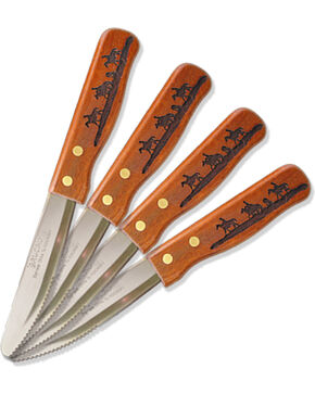 Moss Brothers Laser Engraved Riding Cowboys Steak Knife 4-Piece Set  , Med Brown, hi-res