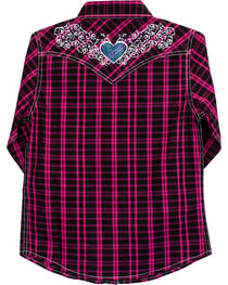 Cowgirl Hardware Girls' Tonal Heart Long Sleeve Plaid Snap Shirt, , hi-res