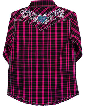 Cowgirl Hardware Girls' Tonal Heart Long Sleeve Plaid Snap Shirt, Black, hi-res