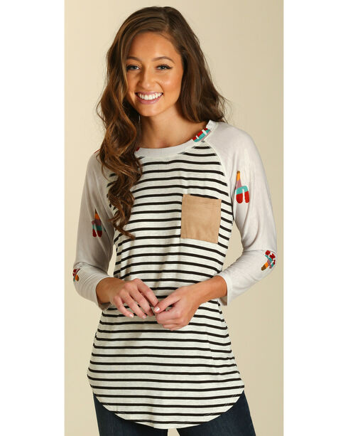 Wrangler Women's Stripe and Cacti Tee , Multi, hi-res