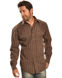 Crazy Cowboy Men's Brown Stripe Snap Shirt, , hi-res