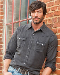 Ryan Michael Men's Black Saw Tooth Silk Linen Shirt - Big and Tall, , hi-res