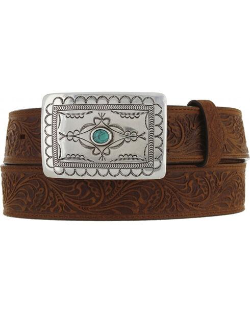 Tony Lama Navajo Spirit embossed leather belt, Aged Bark, hi-res