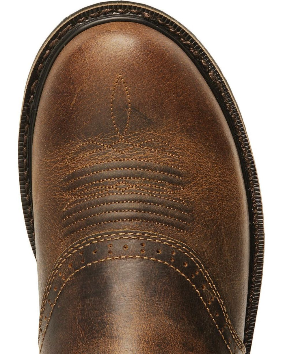"""Justin Men's 11"""" Western Work Boots, Waxed Brn, hi-res"""