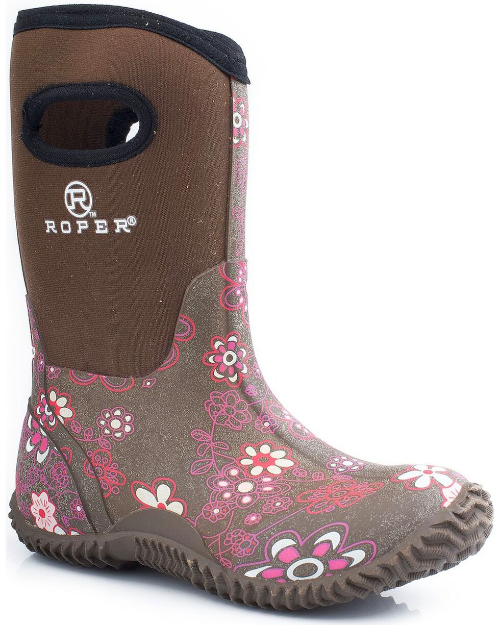 Roper Kid's Neoprene Barnyard Boots, Brown, hi-res
