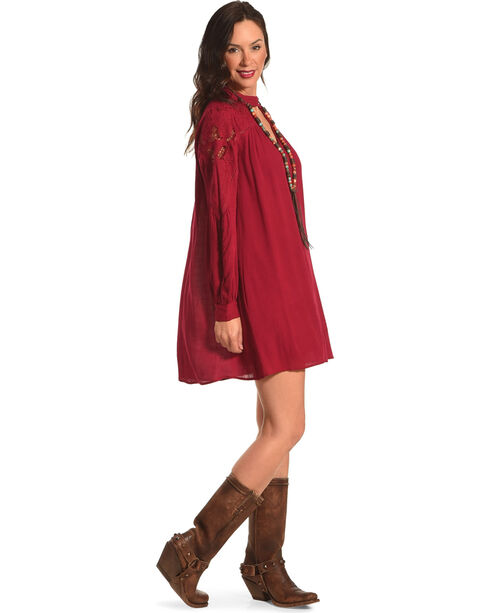 HYFVE Women's Burgundy Lace Keyhole Long Sleeve Dress, Burgundy, hi-res
