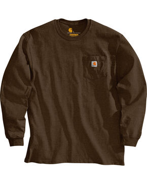 Carhartt Men's Long Sleeve Work T-Shirt, Dark Brown, hi-res