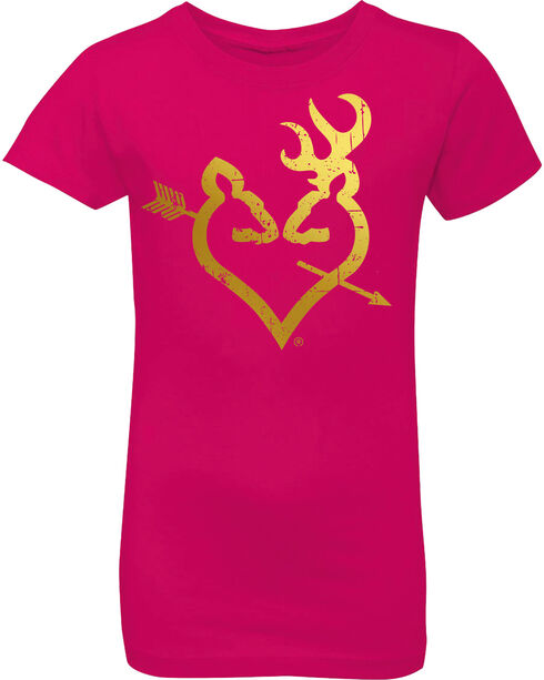 Browning Girls' Hot Pink Foil Buckheart Short Sleeve Tee, Hot Pink, hi-res