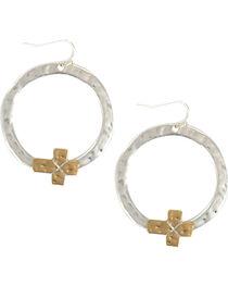 Shyanne® Women's Textured Cross Hoop Earrings, , hi-res